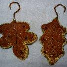 2 Gold Velvet Sequin Leaf Ornaments ~ Very Elegant