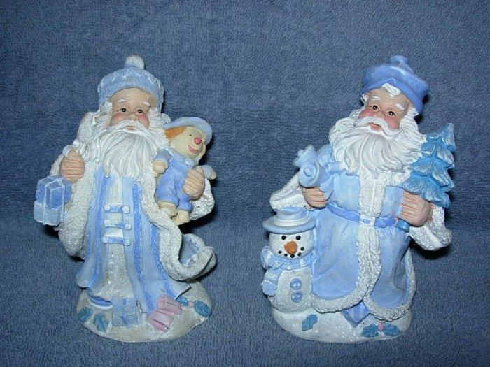 2 Santa Figurines dressed in blue