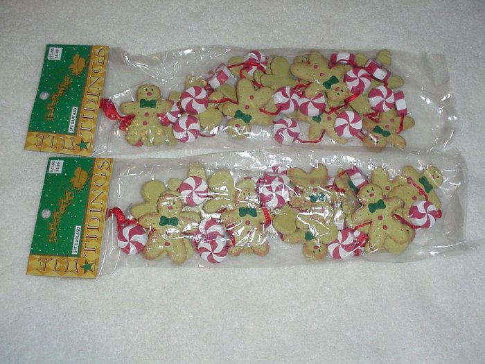 2 Strands of Gingerbread & Peppermints Garland