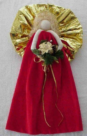 Christmas Angel for a Wall or Door ~ Red Dress