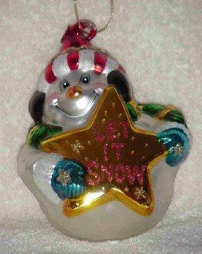 Let it Snow ~ Snowman Blown Glass Ornament