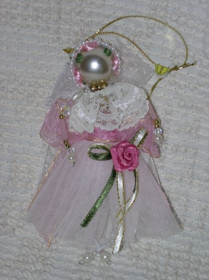 Pink Angel Ornament ~ Beads, Ribbon & Lace