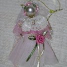 Pink Angel Ornament ~ Beads, Ribbon & Lace