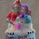 Snowy Days ~ Blown Glass Ornament ~ Snowman Family