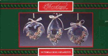 Victorian Rose ~ Set of 3 Glass Ornaments