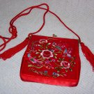 Vintage Red Embroidered Purse