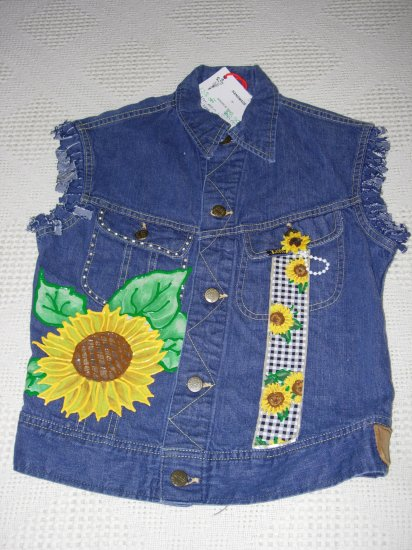 Girls Embellished Denim Vest