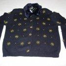 Black Sweater w/Faux Fur & Embellishments - Size Medium