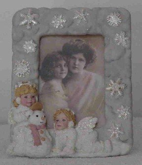 Snow Angel Photo Frame ~ Snowangel girls & Snowman