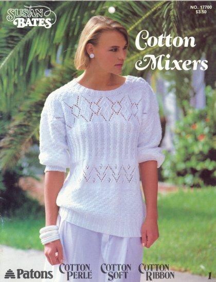 1984 Susan Bates Cotton Mixers Crochet & Knit Sweaters