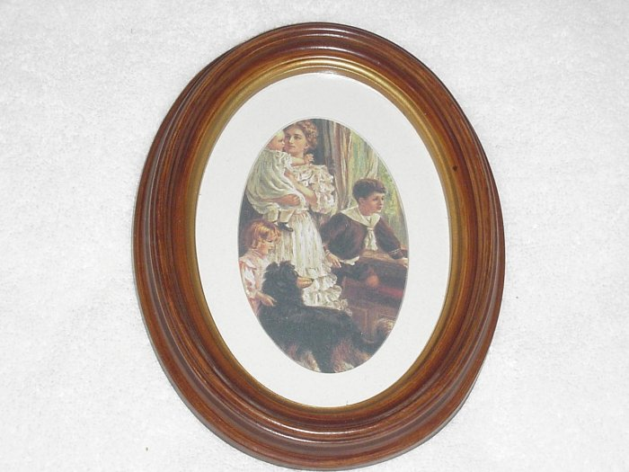 Framed Victorian Mother with Boy Girl Baby Picture