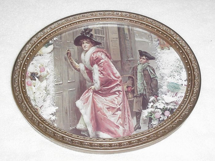 Framed Victorian Winter Picture ~ Lady & Boy