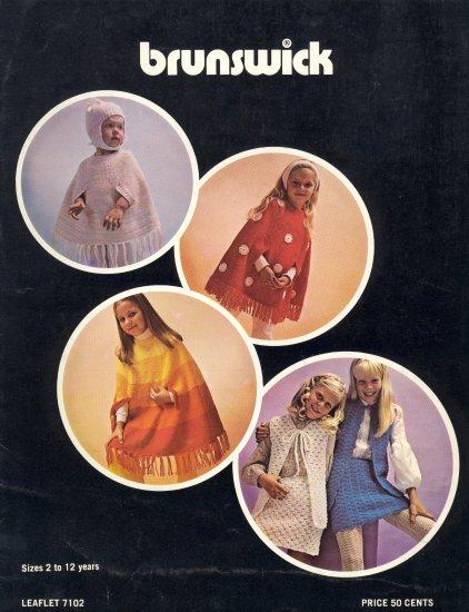 Vintage Brunswick Knitting Leaflet ~ Children & Ponchos