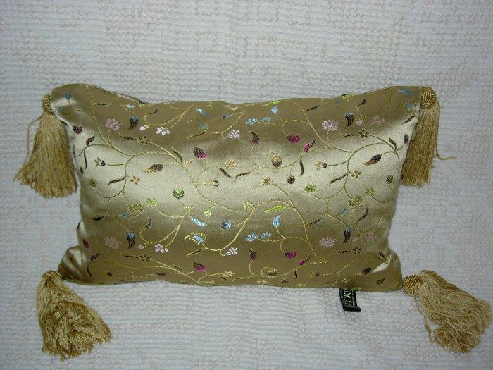 Gold Satin Print Pillow ~ NEW