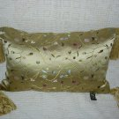 Gold Satin Print Pillow ~ NEW