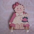 Hand Painted Rag Doll & Bunny Peg Holder ~ Cute