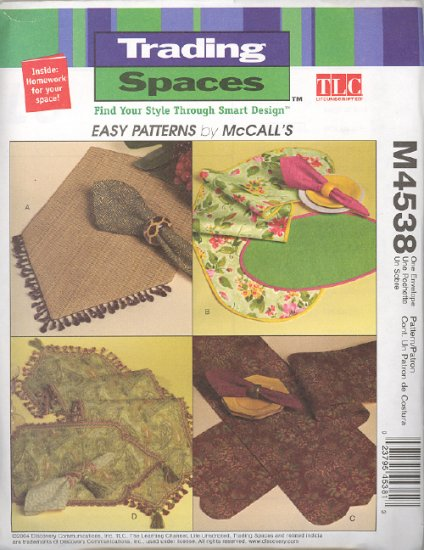 Table Accessories ~ Trading Spaces Pattern McCall's 4538 ~ 2004