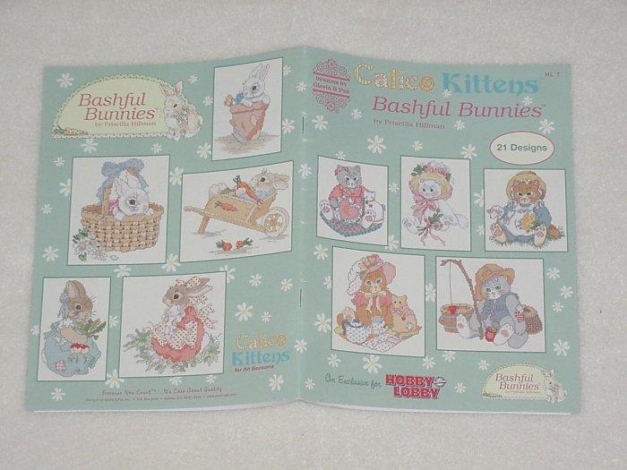 Calico Kittens Bashful Bunnies ~ Priscilla Hillman 2003 ~ Cross-stitch booklet