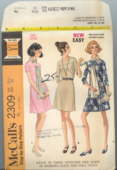 McCall's 2309 ~ Uncut Vintage Dress Pattern 1970 ~ size 12