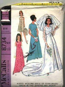 McCall's Pattern # 8734 ~ 1967 Vintage Bride & Bridesmaids ~ size 10