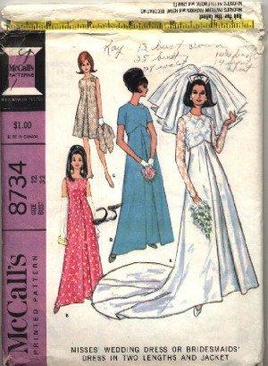McCall's Pattern # 8734 ~ 1967 Vintage Bride & Bridesmaids ~ size 12