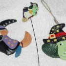 2 Witch Ornaments & a Flying Witch ( for a plant or flower arrangement )