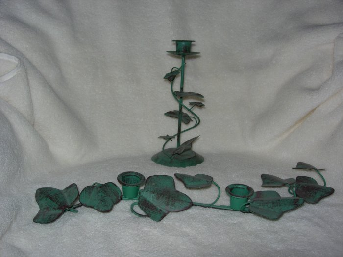 2 Ivy Candlesticks ~ holds taper candles