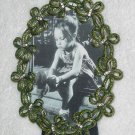 Green Bows Picture Frame ~ Austrian Crystals and Enamel