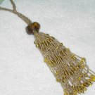 Gold Beaded Tassel  ~ 7.5 inches + Ropes