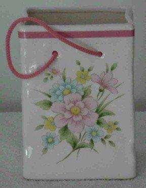 Glazed Ceramic Floral Sack Planter