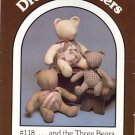 "And the Three Bears ~ 17"" 20"" & 24"" bears Patchwork String Quilting & Tea Dyeing ~ Bear Pattern 1985"