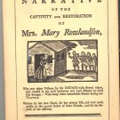 The Narrative of the Captivity and Restoration of Mrs. Mary Rowlandson ~ Book 1953