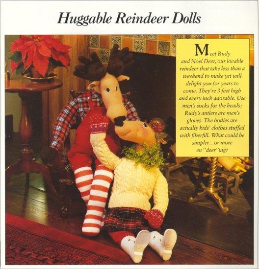 Huggable Reindeer Dolls ( Rudy & Noel Deer ) ~ Pattern 1989