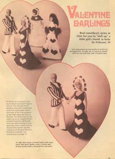 Vintage Barbie & Ken Knit Patterns ~ Valentine Darlings Outfits ~ 1975