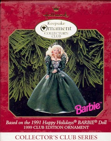 Hallmark Members Only Ornament ~ Holiday Barbie 1999 ~ based on the 1991 Holiday Barbie