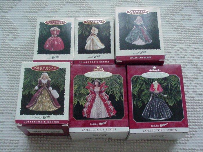 6 Hallmark Ornaments ~ Holiday Barbie 1993 - 1998 ~ Holiday Barbie series