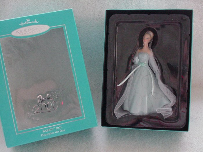 Hallmark Porcelain Ornament ~ Barbie 2001 ~ Members only