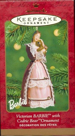 Hallmark Ornament ~ Victorian Barbie with Cedric Bear  2001