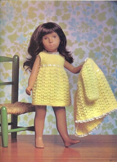 """Vintage Knit Party Time for Sasha Outfit for a Doll Pattern ~ will fit Sasha or 16"""" doll ~ 1971"""