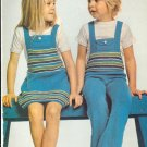 Vintage Knit Stripy Twosome Children's Pattern ~ (Boy and Girl) ~ 1974