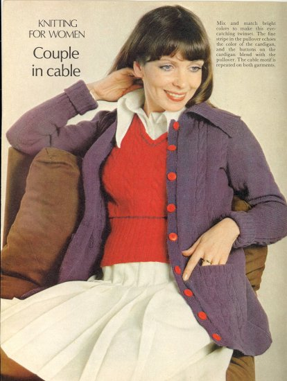 Vintage Knit Couple in Cable Pattern ( Pullover & Cardigan ) ~ Misses Sizes ~ 1974