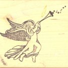 Angel with Horn ~ Rubber Stamp