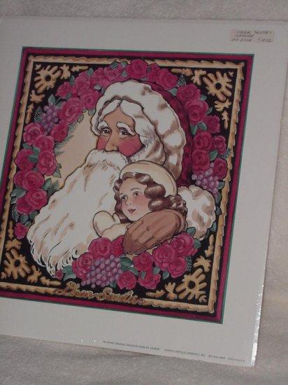 Dear Santa Fine Art Print by Marilyn Gandre ~ Santa with a girl, roses and grapes