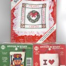 3 Christmas Ornaments ~ I Love Shopping, Santa Sacks & Toy Soldier ~ Cross-Stitch Kits