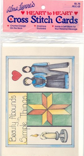 Beauty Abounds in Simple Things by Alma Lynne ~ Amish Cross-Stitch Card/Chart ~ 1986