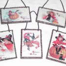5 Vintage Mini Halloween Postcard Ornaments ~ Frances Brundage