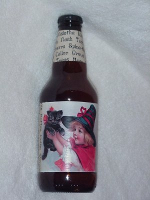 Witch Bottle with Vintage Postcard design