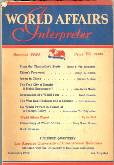 World Affairs Interpreter Book ~ Summer 1938