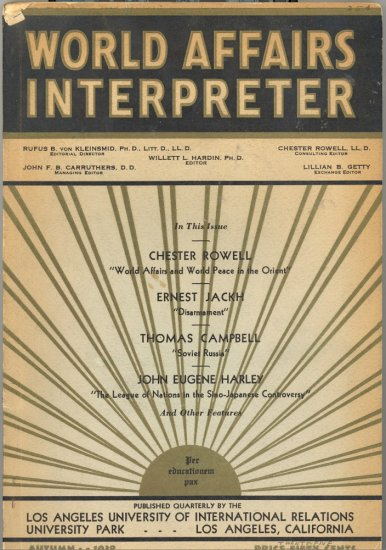 World Affairs Interpreter Book ~ Autumn 1932