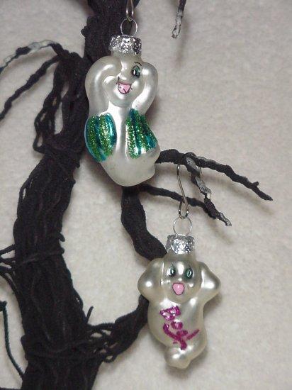 2 Ghosts ~ Halloween Blown Glass Ornaments